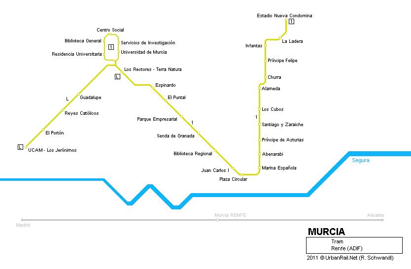 Mapa de tranvías de Murcia